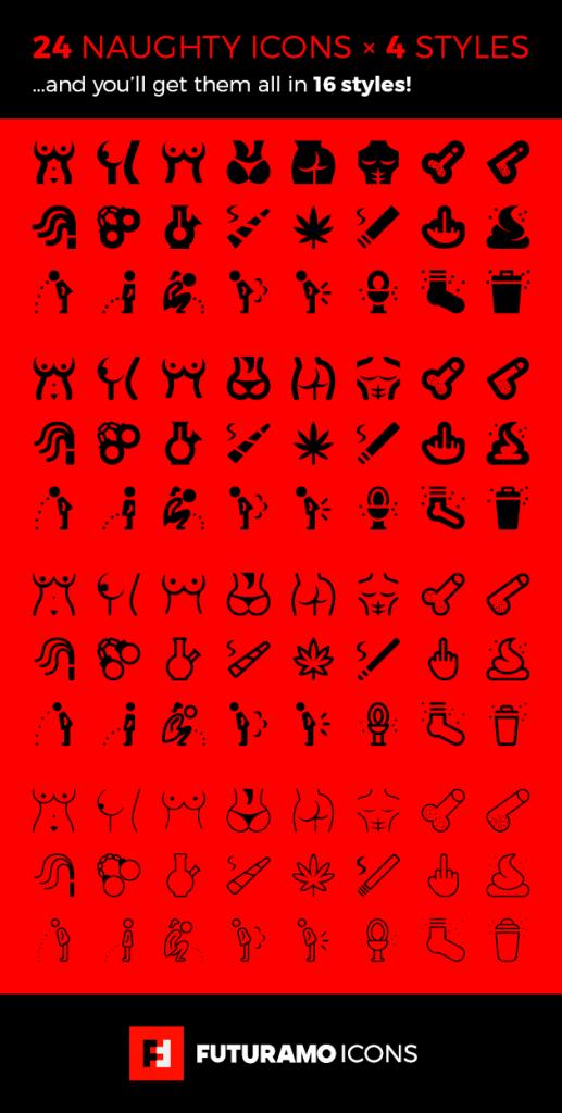 futuramo-naughty-icons-4-styles