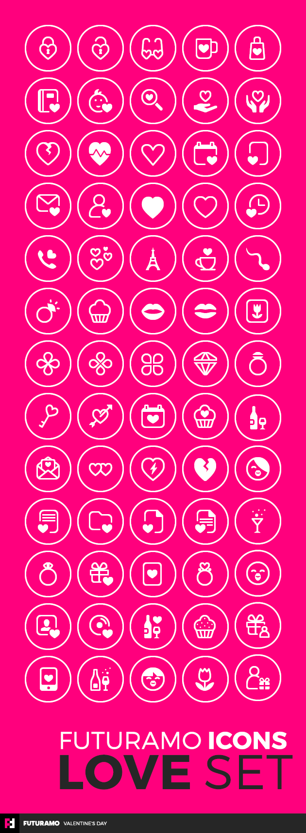 "Valentine Icon Set in ""rounded regular"" style"