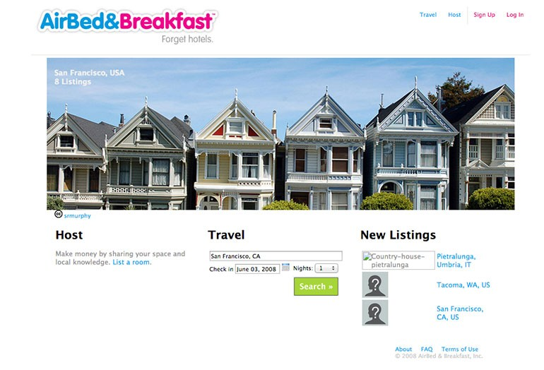 Airbnb first website old design