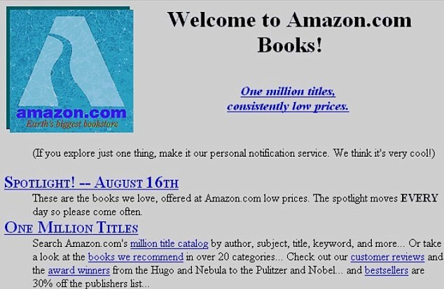 Amazon first website old design