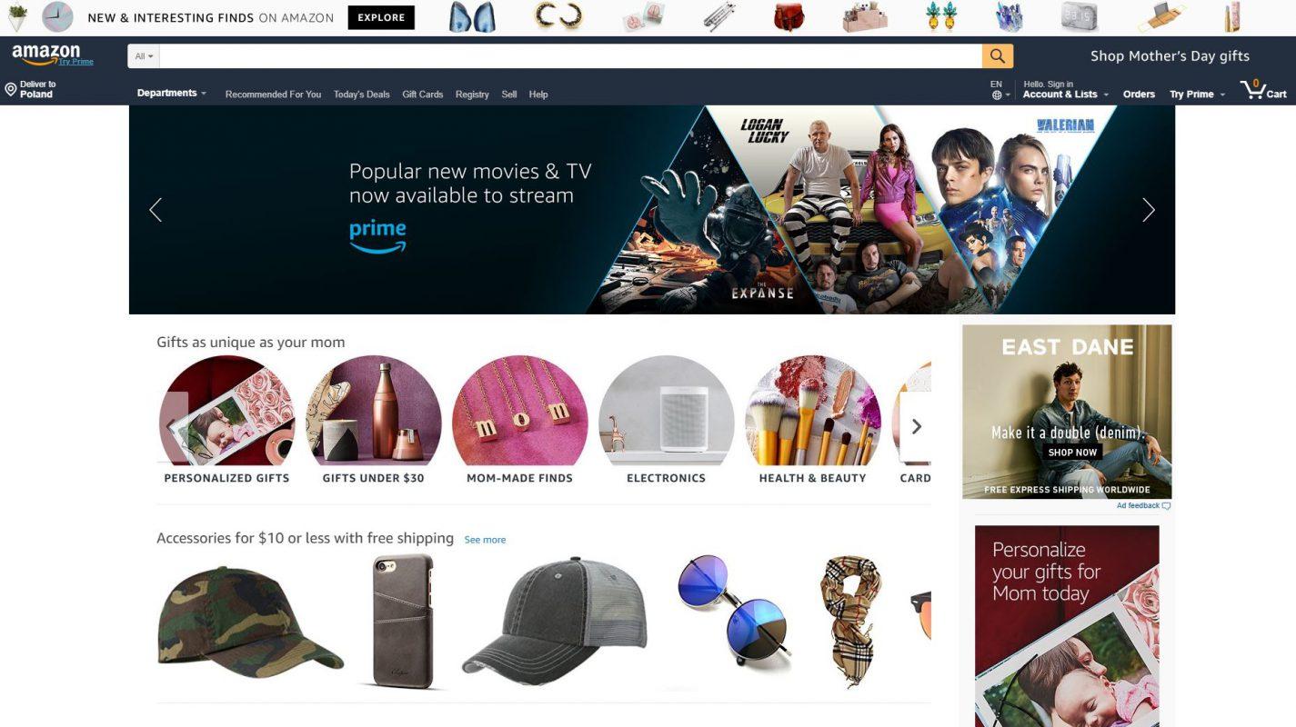 Amazon website in 2018 redesign example