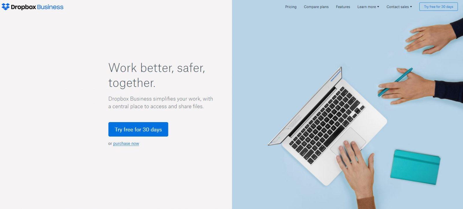 Dropbox website in 2018