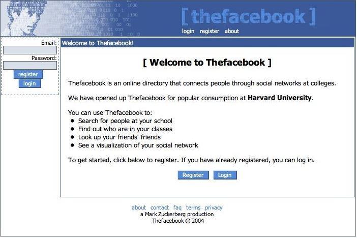 Facebook website in 2004 old design