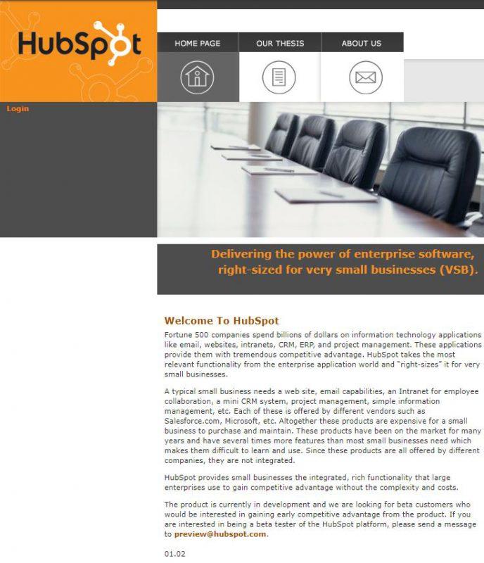 HubSpot website at the beginning old design