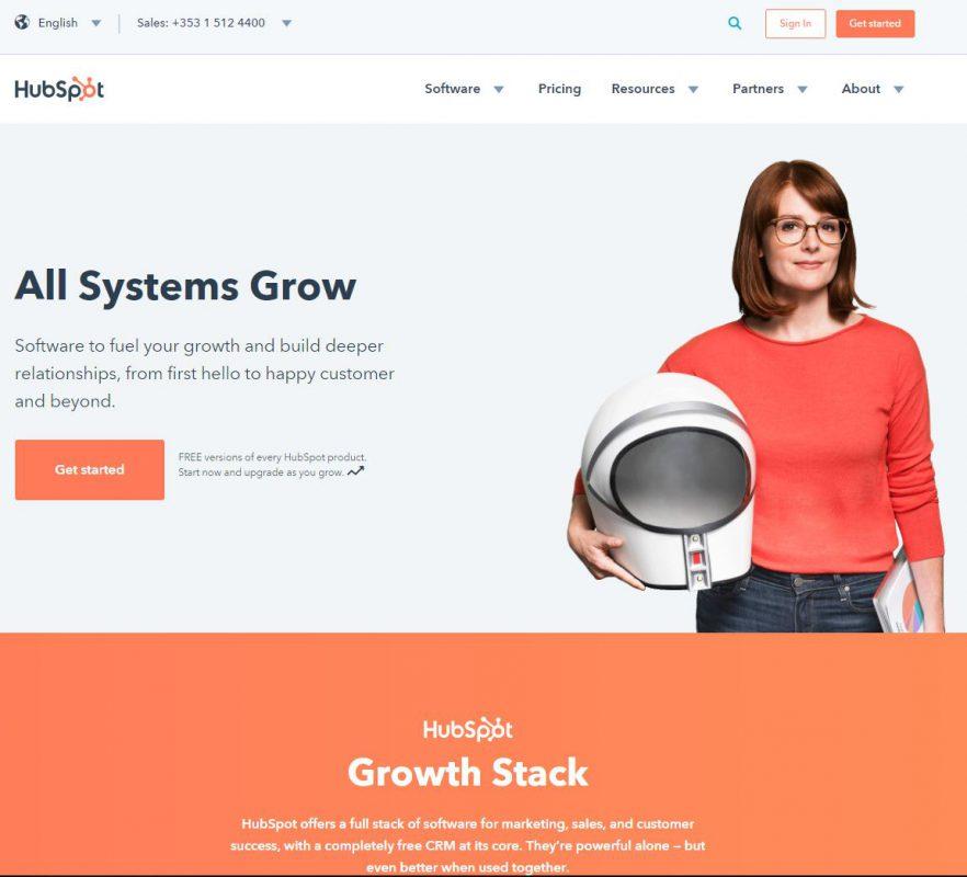 HubSpot website in 2018 redesign example