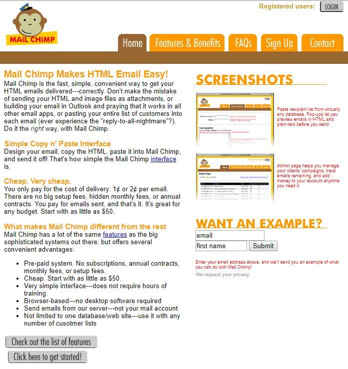 first Mailchimp website design old design