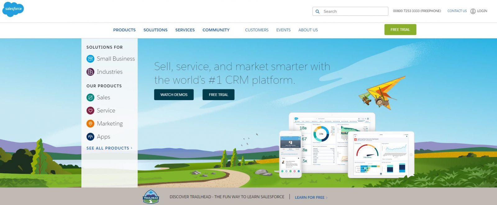 Salesforce website in 2018 redesign example