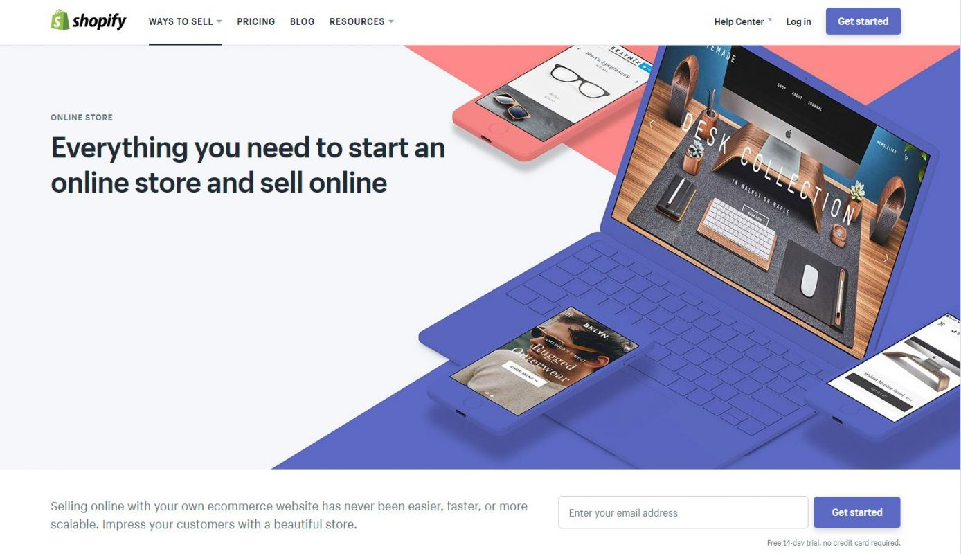 Shopify website in 2018 redesign example