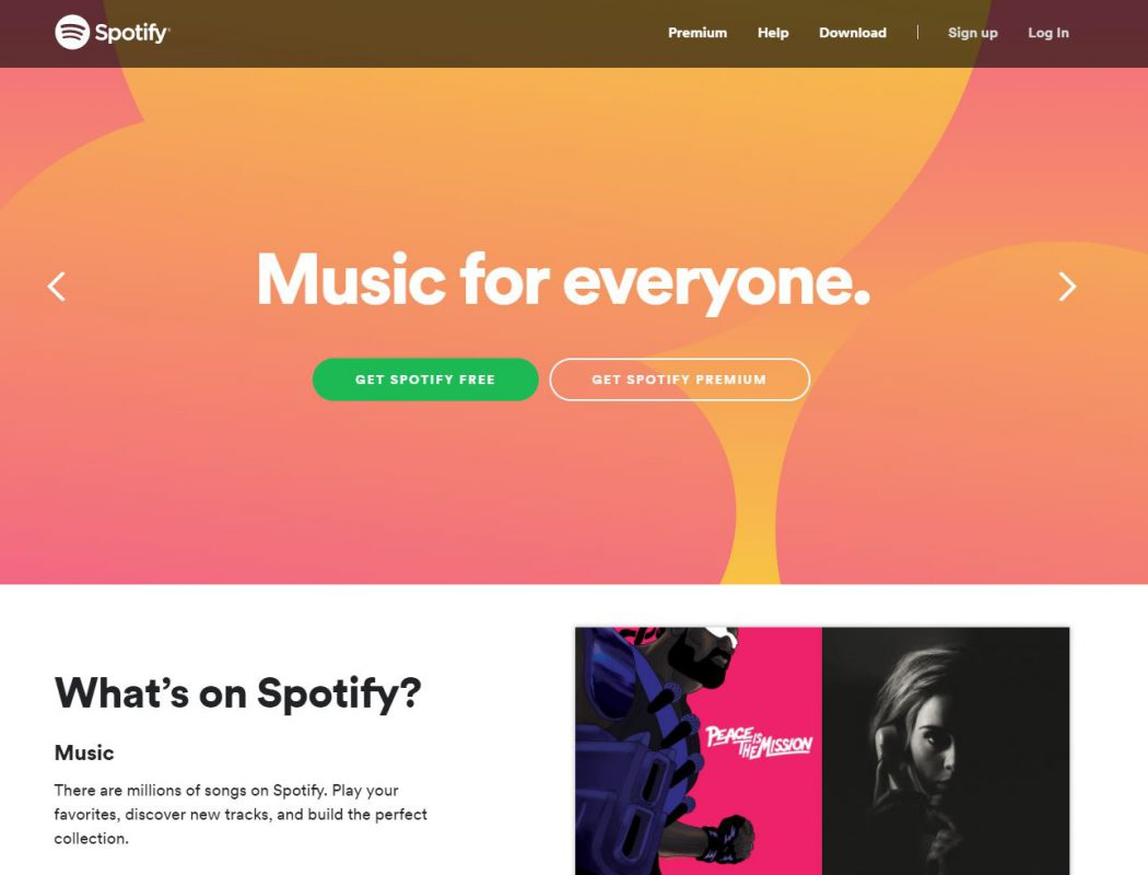 Spotify website in 2018 redesign example