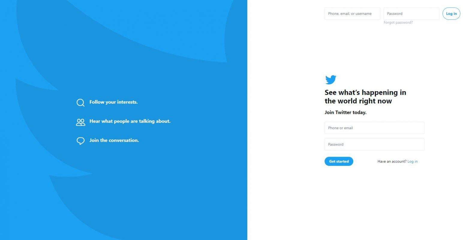 Twitter website in 2018 redesign example