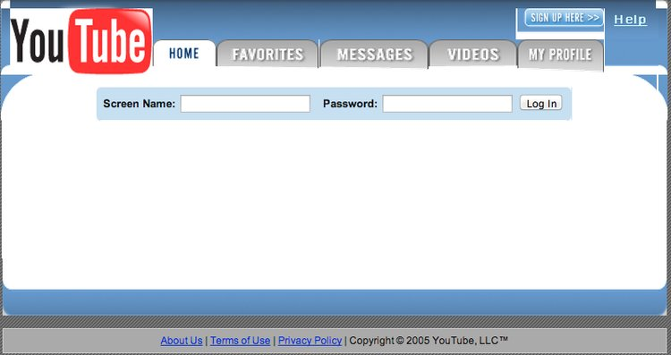 first YouTube website old design