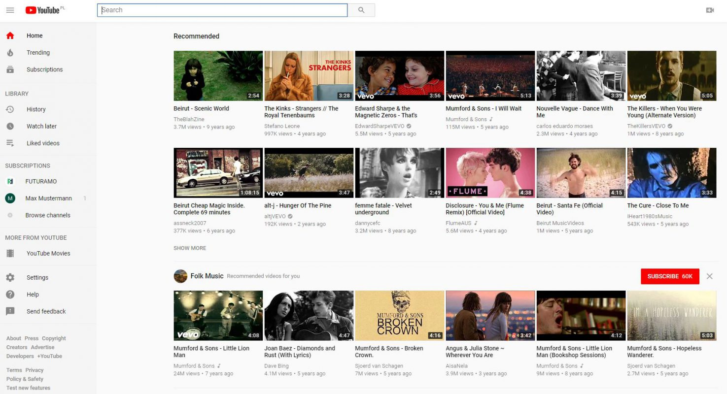 YouTube website in 2018 redesign example
