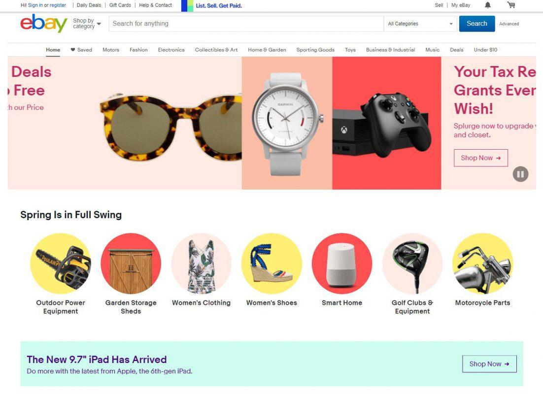 ebay website in 2018 redesign example